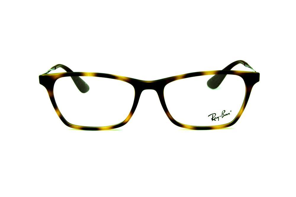 bd9afdb346b67 Óculos Ray-Ban RB7053 acetato tartaruga estilo gatinho e haste grafite