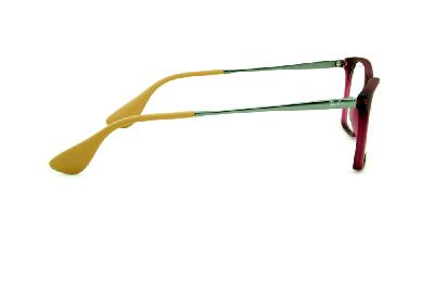 3860140abcc41 ... Óculos Ray-Ban RB7053 acetato estilo gatinho rosa fosco com haste de  metal grafite