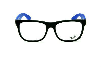 445bbd817f760 ... Óculos Ray-Ban RB7057 preto fosco e haste azul com emblema prata ...