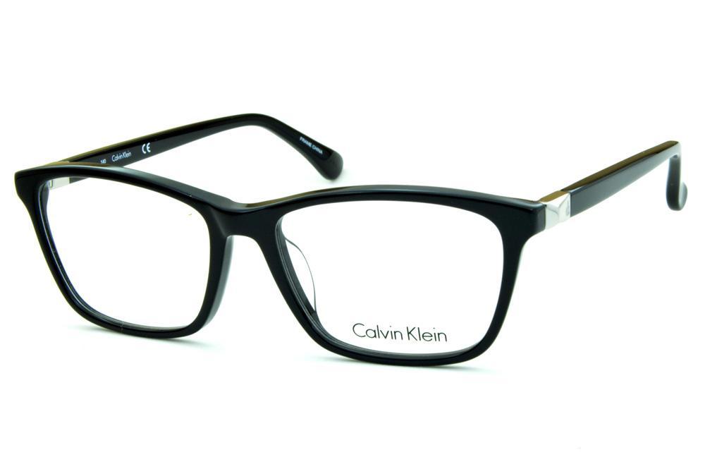 cf9b03dda5d80 Óculos de grau Calvin Klein CK5815 quadrado preto brilhante com detalhe de  metal