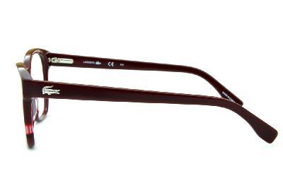 9fcfe7caf7de5 ... Óculos Lacoste L2737 acetato vermelho com bordô estilo gatinho e logo  de metal na haste ...