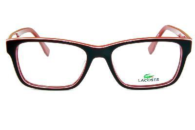 ed3c9b050a167 ... Óculos Lacoste L2746 Vermelho e bordô com friso branco e logo de metal  ...