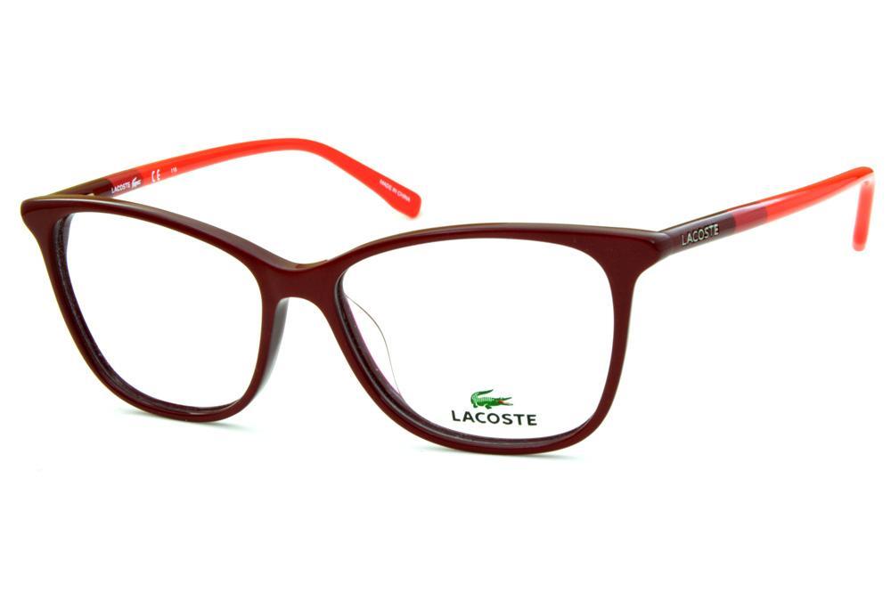 5355a97607b8b Óculos Lacoste L2751 acetato bordô estilo gatinho com hastes coloridas em  bordô vinho e rosa