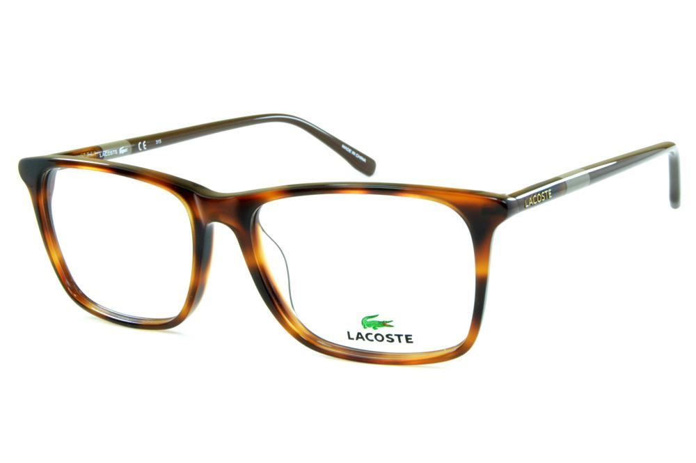 eb7d6c6e2bd6b Óculos Lacoste L2752 Demi tartaruga efeito onça com haste cinza e marrom  café