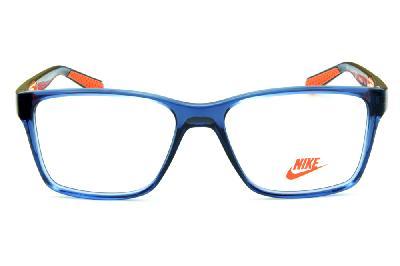 5db1375644c54 ... Óculos Nike 5532 azul translúcido com detalhe laranja nas hastes ...