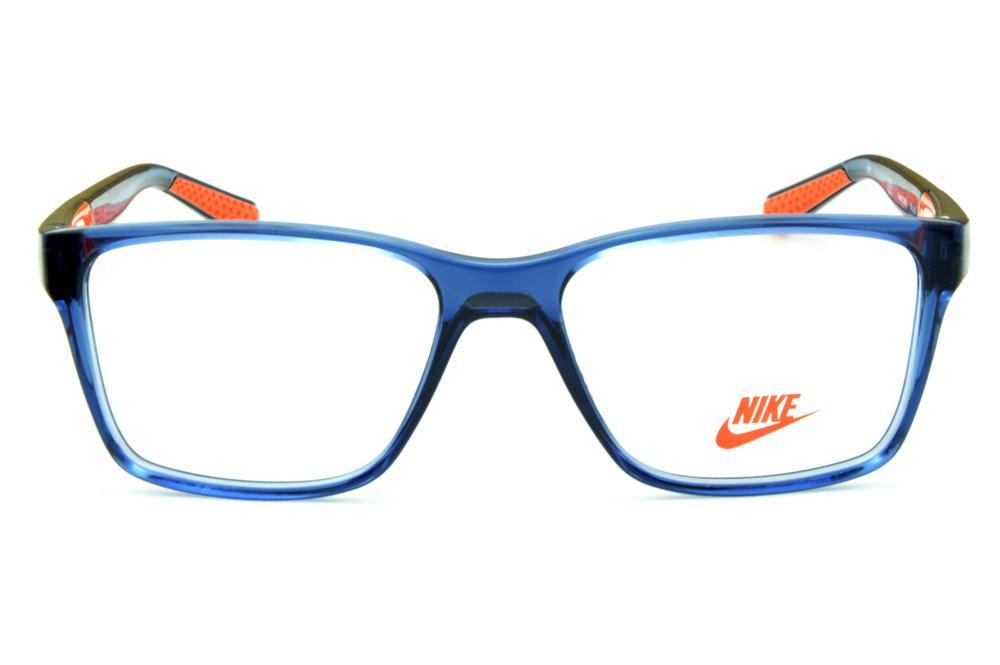 e2c8f7040 Óculos Nike 5532 azul translúcido detalhe laranja nas hastes