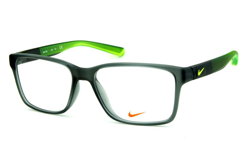19f0b56ca Óculos Nike 7091 Live Free Cinza fosco degrade com detalhe e logo verde  fluorescente na haste