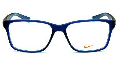 15f14e773 ... Óculos Nike 7091 Live Free azul fosco com hastes azul degradê e logo verde  água ...