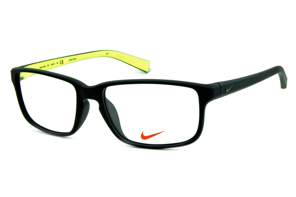 Óculos Nike 7095 Preto fosco com verde fluorescente no interno das hastes e  logo de metal 15184ae116