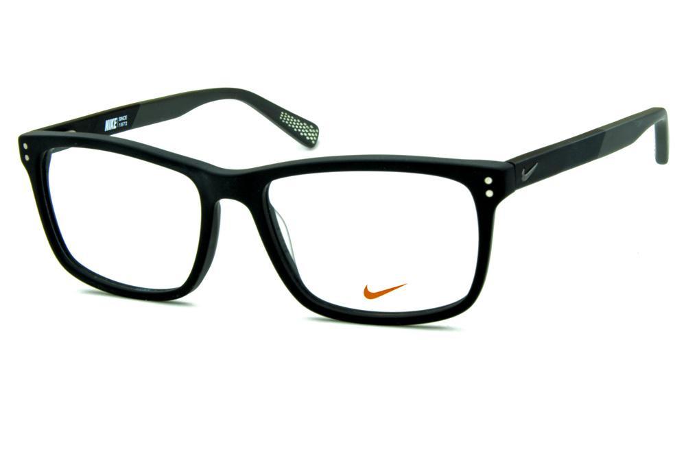 8ba1e53db4478 Óculos Nike 7238 Preto fosco com haste cinza e logo de metal