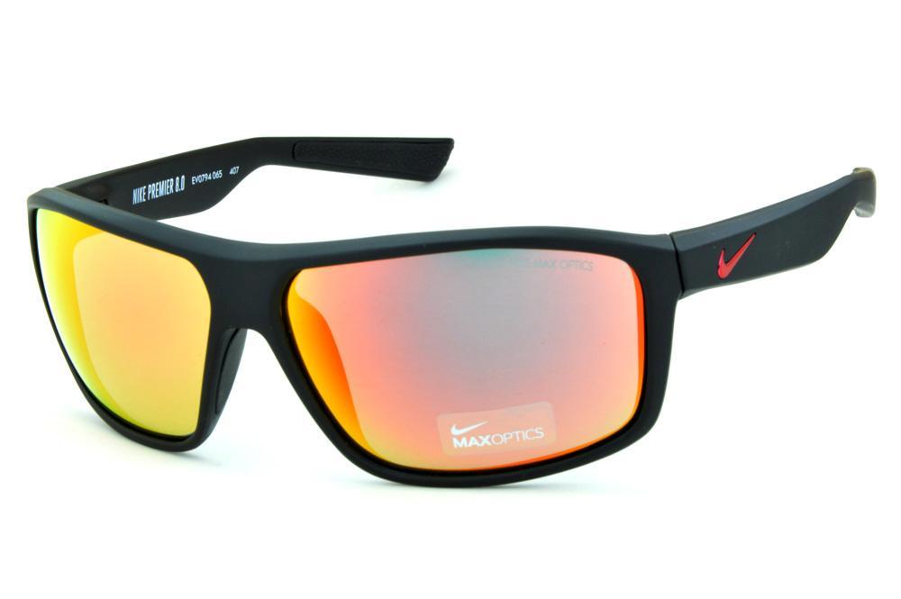 bc927e6f392f0 Óculos de Sol Nike Premier 8.0 EV0794 Preto fosco com lentes espelhadas  vermelha e logo vermelho