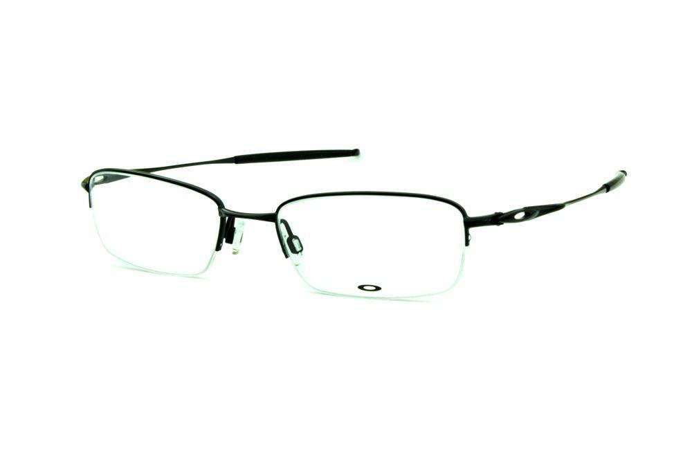 ab3d0ba39b056 Óculos Oakley OX3133 Polished Black metal preto fio de nylon com ponteiras  emborrachadas