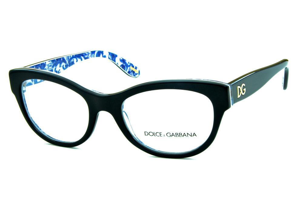 dd494b191 Óculos Dolce & Gabbana DG3203 Preto com floral azul e branco na parte  interna