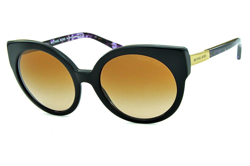f496174401999 Óculos de Sol Michael Kors MK2019 Adelaide1 Preto com hastes douradas e  lilas