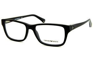 92ed647a8 Óculos Emporio Armani EA3057 preto fosco com friso branco nas hastes.