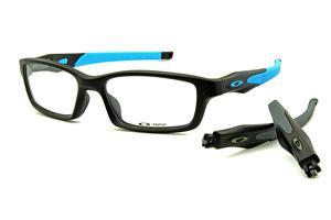 ddb871738a1be Óculos Oakley OX8027 Crosslink em acetato preto fosco com 2 cores de haste ( azul e