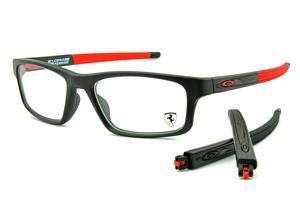109ab0cbedacc Óculos Oakley OX8037 Crosslink Ferrari Acetato preto e vermelho com haste  adicional preto fosco