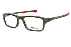 62e24c8235653 Óculos Oakley OX8039L Chamfer acetato cinza com detalhes em vermelho