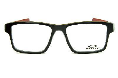 bd0706dac6306 ... Óculos Oakley OX8040 Chamfer 2 Acetato Preto com ponteiras  emborrachadas vinho e logo branco ...