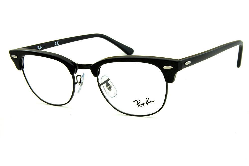 Óculos Ray-Ban Clubmaster RB5154 Acetato preto fosco com aro e ponte em  metal preto 54b5e59fe5