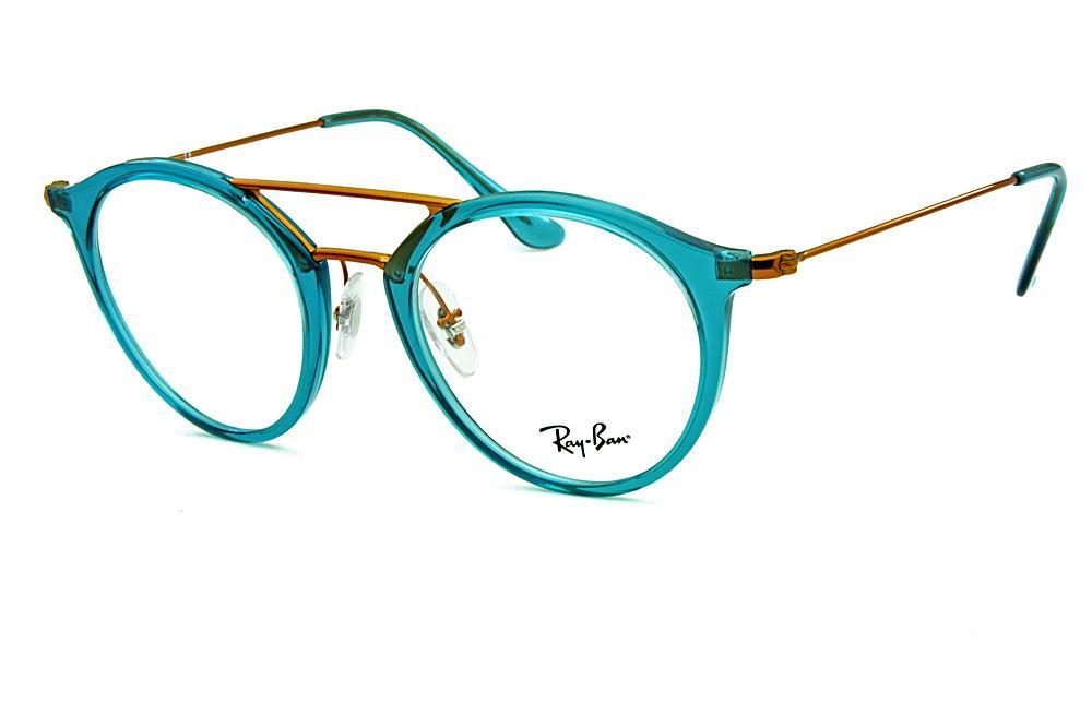 0016e4be6 Óculos Ray-Ban RB7097 Acetato Verde translúcido com ponte e hastes em metal  cobre