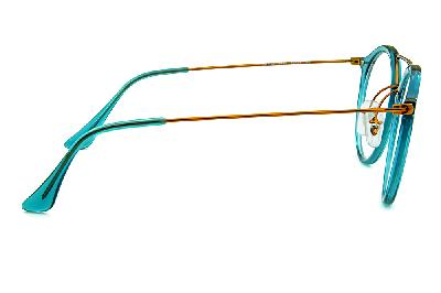 1e2bcb690 ... Óculos Ray-Ban RB7097 Acetato Verde translúcido com ponte e hastes em  metal cobre ...