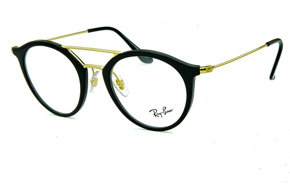 9d9de71ae99cb Óculos Ray-Ban RB7097 Acetato preto com ponte e hastes em metal dourado