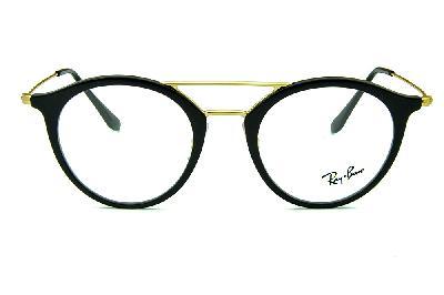 51b4048170d1b ... Óculos Ray-Ban RB7097 Acetato preto com ponte e hastes em metal dourado  ...