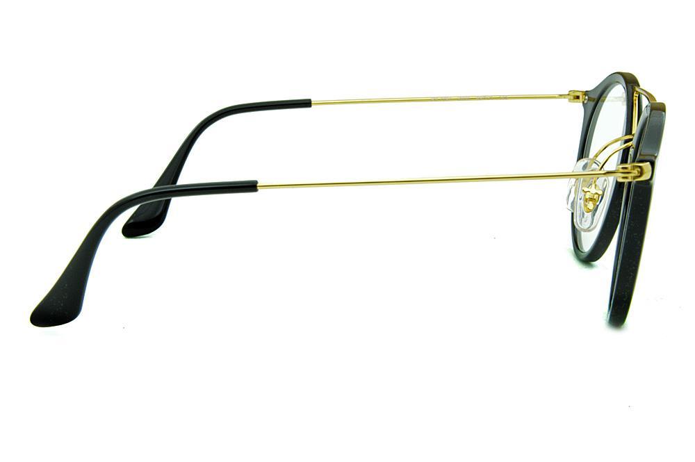 afbc910a185d9 Óculos Ray-Ban RB7097 Acetato preto ponte e hastes douradas
