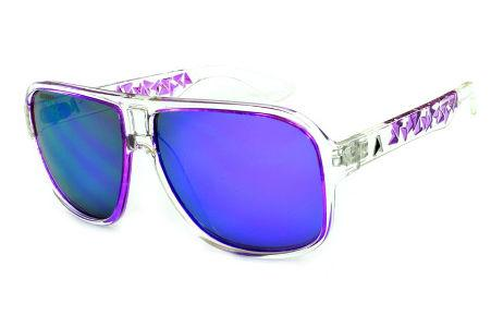Óculos Absurda Calixtin transparente com lente violeta roxo espelhado 84064d2737