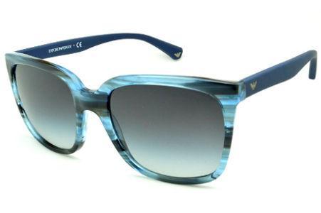 f9a94b08f1b Óculos Emporio Armani EA4049 de Sol azul e preto camuflado com haste efeito  borracha
