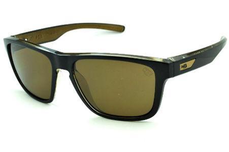 90679cd0c064c Óculos HB H-BOMB Black Gold preto e marrom emblema dourado e lente marrom
