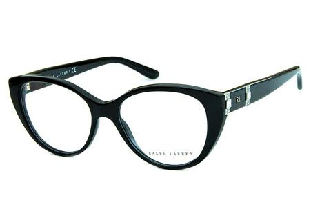 00b9c1d2c2af4 Óculos Ralph Lauren RL6147B Acetato Preto com detalhes em strass nas hastes