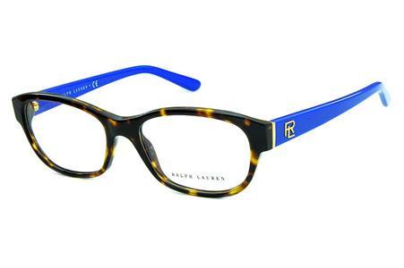 d9891d6c08e0c Óculos Ralph Lauren RL6148 Acetato demi tartaruga com hastes azul e  detalhes dourado