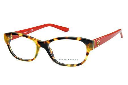 3a8e34be7a9a9 Óculos Ralph Lauren RL6148 Acetato demi tartaruga com hastes vermelhas e  detalhes dourado
