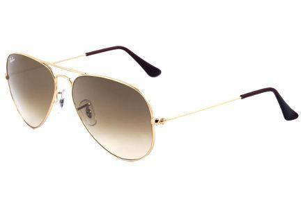 59640c1398263 Óculos Ray-Ban Aviador RB3025 dourado com lente degradê marrom