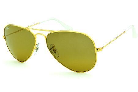 Óculos Ray-Ban Aviador RB3025 dourado lente marrom e ponteira branca  tamanho 58 c11365755c