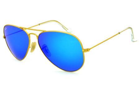 a38afc4baa Óculos Ray-Ban Aviador RB3025 dourado fosco lente azul espelhada tamanho 58