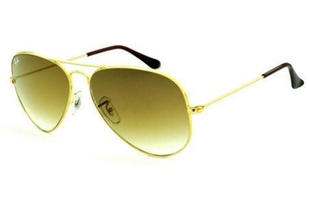 5827e31d7 ... Óculos Ray-Ban Aviador RB3025 dourado lente marrom degradê tamanho 58  ...