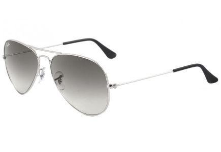 12b17d889a61c Óculos Ray-Ban Aviador RB3025 prata com lente degradê fumê