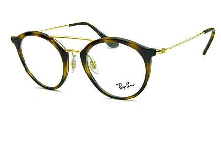 e826550e38a90 Óculos Ray-Ban RB7097 Acetato Demi tartaruga com ponte e hastes de metal  dourado