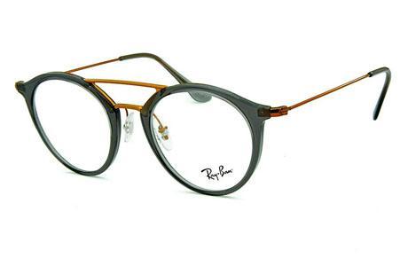 Óculos Ray-Ban RB7097 Acetato cinza com ponte e hastes em metal cobre d2da325161