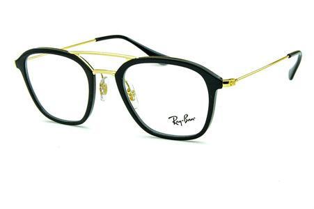 8adb7bd36 Óculos Ray-Ban RB7098 Acetato Preto com ponte e hastes de metal dourado