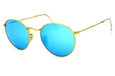 """Ã""""culos Ray-Ban Round RB3517 metal dourado friso azul redondo com lente  espelhada prata suave d721e643af"""