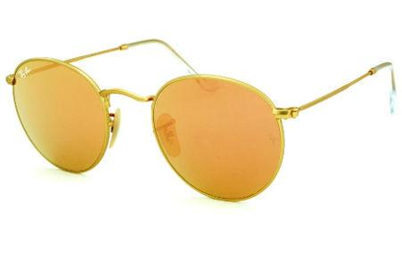 Óculos Ray-Ban Round RB3447 dourado lente azul polarizada c648fa97fd