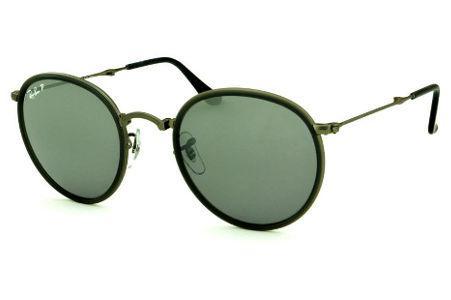 7e7f71996 Óculos Ray-Ban Round RB3517 metal chumbo friso cinza escuro e lente  POLARIZADA espelhada degradê