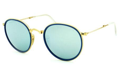 3ec465306 Óculos Ray-Ban Round RB3517 metal dourado friso azul redondo com lente  espelhada prata suave
