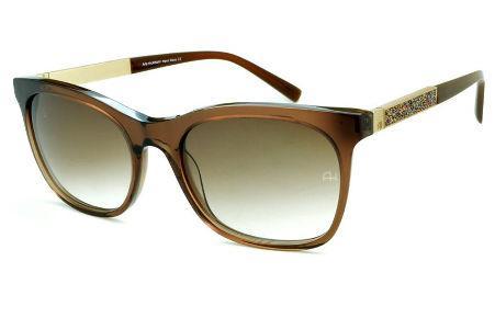 c77c31a4c6048 Óculos de Sol Ana Hickmann HI9198 em acetato marrom e haste giratória  colorido dourada