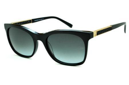 49664a098 Óculos de Sol Ana Hickmann HI9198 em acetato preto e haste giratória  preta/dourada