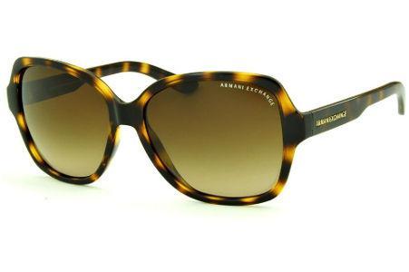 2d631d1cf16f0 Óculos de Sol Armani Exchange AX4029S tartaruga efeito onça com lente  marrom degradê e logo dourado